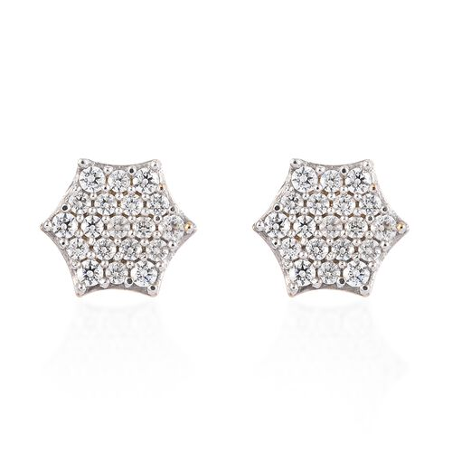 WEBEX- J-Francis 14K Gold Overlay Sterling Silver Cluster Earrings (with Push Back) Made with SWAROVSKI ZIRCONIA