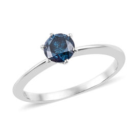 0.56 Ct Blue Diamond Solitaire Ring in 9K White Gold 1.75 Grams