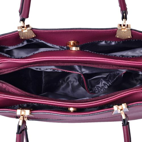 Darley Burgundy Tote Bag with External Zipper Pocket and Adjustable and Removable Shoulder Strap (Size 30x27x22.5x13 Cm)