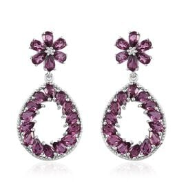 Rhodolite Garnet (Pear), Natural Cambodian Zircon Teardrop Earrings (with Push Back) in Platinum Ove