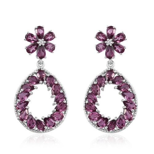 Rhodolite Garnet (Pear), Natural Cambodian Zircon Teardrop Earrings (with Push Back) in Platinum Overlay Sterling Silver 10.500 Ct. Silver wt. 7.60 Gms.