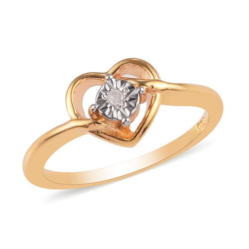 Diamond Heart Ring in 14K Gold Overlay Sterling Silver