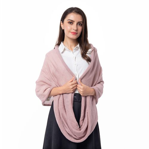 Designer Inspired-Pink Colour Infinity Scarf (Size 77x70 Cm)