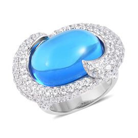 Simulated Aquamarine (Ovl 20x15 mm), Simulated Diamond Ring in Silver Plated