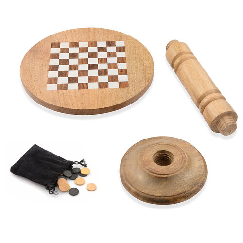 Super Auction - Natural Mango Wood Chess and CheckersTable (Size 35x30 Cm)