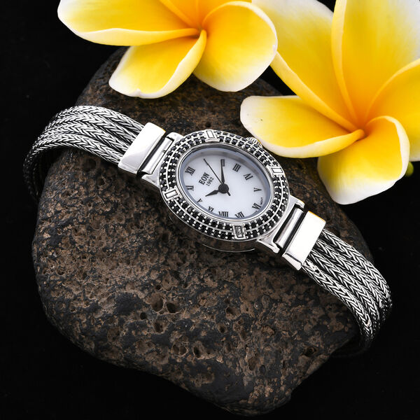 Royal Bali Collection - EON 1962 Swiss Movement Boi Ploi Black Spinel Studded Water Resistant Tulang Naga Bracelet Watch (Size 7.25) in Sterling Silver 1.23 Ct, Silver wt 35.69 Gms