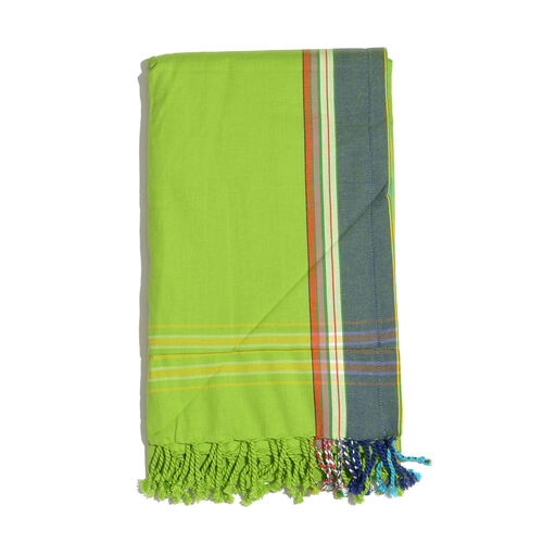 100% Cotton (Front) and 100% Polyester (Back) Light Green with Dark Green Border Kikoy Beach Towel (
