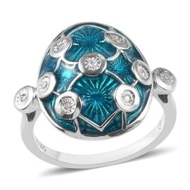 GP Diamond (Rnd), Blue Sapphire Enamelled Ring in Platinum Overlay Sterling Silver