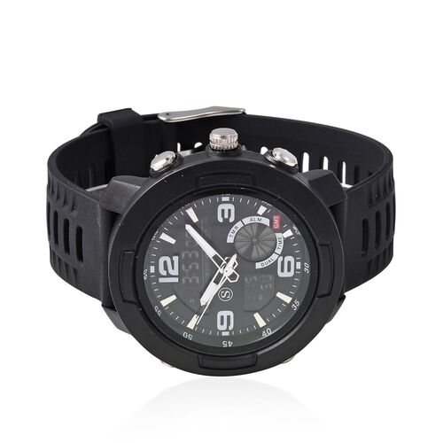 STRADA Japanese and Electronic Movement 5ATM Water Resistant Sports Watch in Stainless Steel with Black Silicone Strap