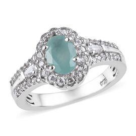 Grandidierite (Ovl), Natural Cambodian Zircon Ring in Platinum Overlay Sterling Silver 1.25 Ct.