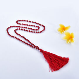 Red Colour Beads Necklace with Tassel Size 33 Inch