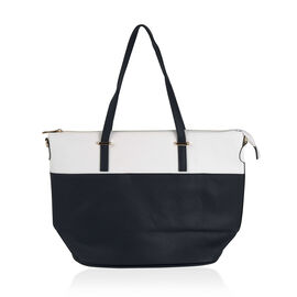 Designer Inspired- Navy and White Colour Handbag with Removable Strap (Size 28x31x15 cm)