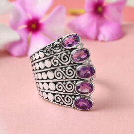 Sajen Silver CULTURAL FLAIR Collection - Amethyst Enamelled Ring in Rhodium Overlay Sterling Silver 2.25 ct, Silver wt 8.25 Gms