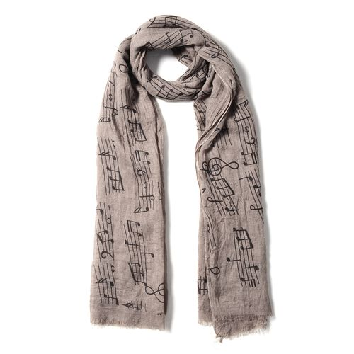 Brown and Black Colour Musical Note Pattern Scarf (Size 178x100 Cm)