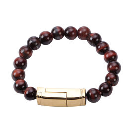 Red Tiger Eye Beads Bracelet (Size 7.75) with Micro USB Cable in Rose Gold Tone 75.00 Ct.