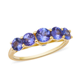 4 Ct Tanzanite and Diamond 5 Stone Ring in 9K Yellow Gold I3 GH