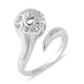 LucyQ Rhodium Overlay Sterling Silver Filigree Filled Flower Bud Design Adjustable Ring
