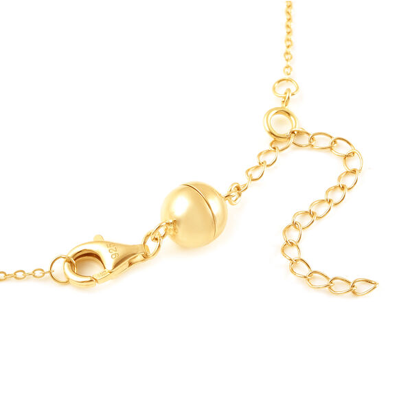 Yellow Gold Overlay Sterling Silver Magnetic Lock (Size 8 mm) with Lobster Clasp (Size 11 mm)