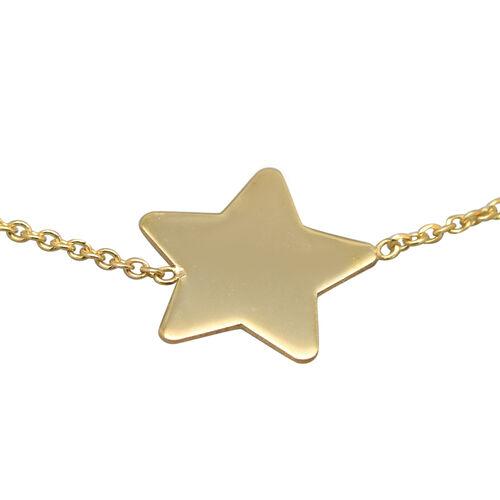 9K Yellow Gold Star Adjustable Slider  Bracelet (Size 8.5) ,  Gold Wt. 1.00 Gms