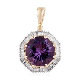 3.85 Ct Amethyst and Diamond Halo Pendant in Rhodium Plated 9K Gold 2 Grams