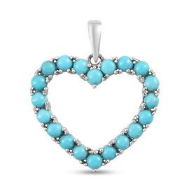 Arizona Sleeping Beauty Turquoise Heart Pendant in Platinum Overlay Sterling Silver 2.45 Ct.