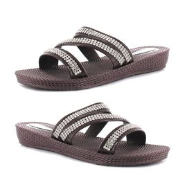 Ella Grace Diamante Slip on Sandals in Brown Colour