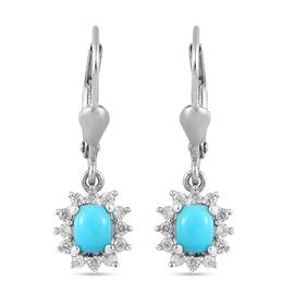 Arizona Sleeping Beauty Turquoise and Natural  Cambodian Zircon Lever Back Dangle Earrings in Platin