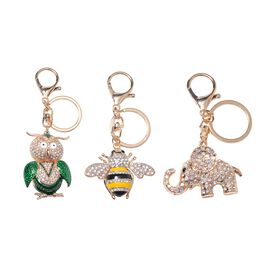 3 Piece Set- Austrian Multicolour Crystal (Rnd) Enameled Owl, Bee and Elephant Key Chain in Rose Pla