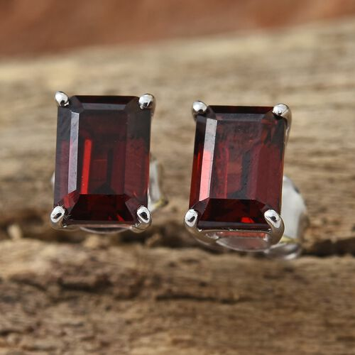 WEBEX- 9K White Gold (Oct) Mozambique Garnet Solitaire Stud Earrings 2.40 Ct.