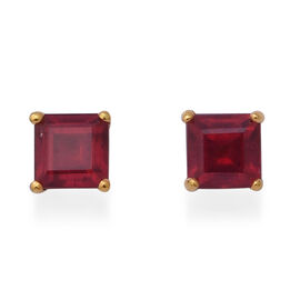 3.40 Ct African Ruby Solitaire Stud Earrings with Push Back in Gold Plated Silver