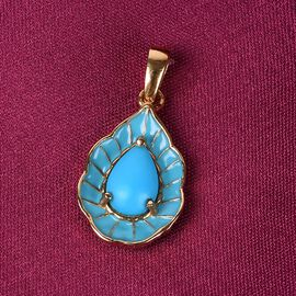 Arizona Sleeping Beauty Turquoise Enamelled Pendant in 14K Gold Overlay Sterling Silver 1.330 Ct.