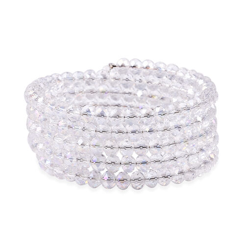 Simulated Mercury Mist Topaz Beaded Bangle (Size 7)