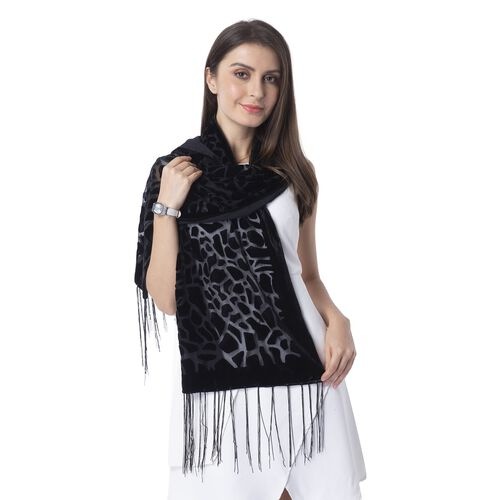 Black Colour Crack Pattern with Leopard Print Scarf with Tassels(Size 155x50 Cm)