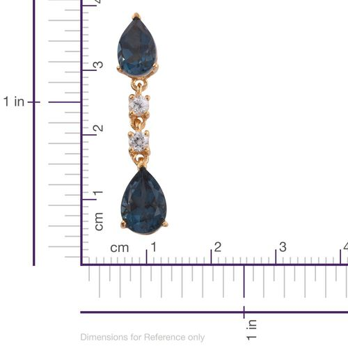 Indicolite Quartz (Pear), Natural Cambodian Zircon Earrings (with Push Back) in 14K Gold Overlay Sterling Silver 8.750 Ct.