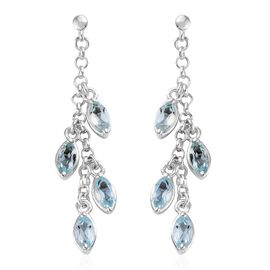 Sky Blue Topaz (Mrq) Dangle Earrings (with Push Back) in Sterling Silver 2.250 Ct. Silver wt 4.44 Gms.
