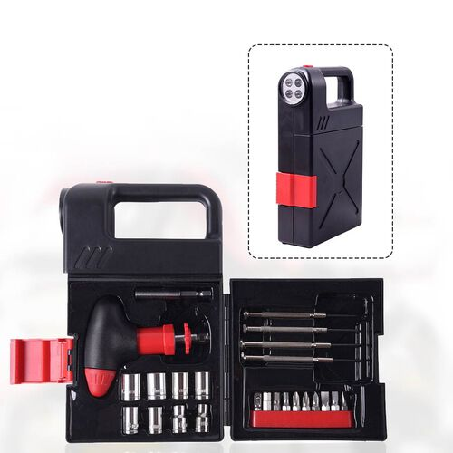 Portable Flashlight Jerry Can Design Tool Box (Inclds. 1pc Handle, 1pc Prolong Bar, 4pcs Precision S