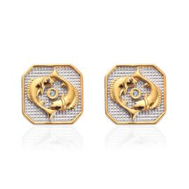 Aquamarine Pisces Zodiac Stud Earrings (with Push Back) in Yellow Gold and Platinum Overlay Sterling