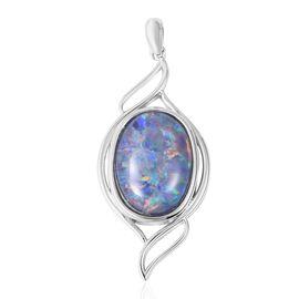 6.75 Ct Boulder Opal Triplet Solitaire Pendant in Sterling Silver 5.2 Grams