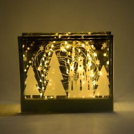 Home Decor Glass Table Decoration With Yellow Light Christmas Fairytale (Size 18x15x6 Cm) Silver Gre