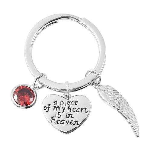 Charms De Memoire Sterling Silver Simulated Garnet, Angel Wing and Heart Charms in Key Chain