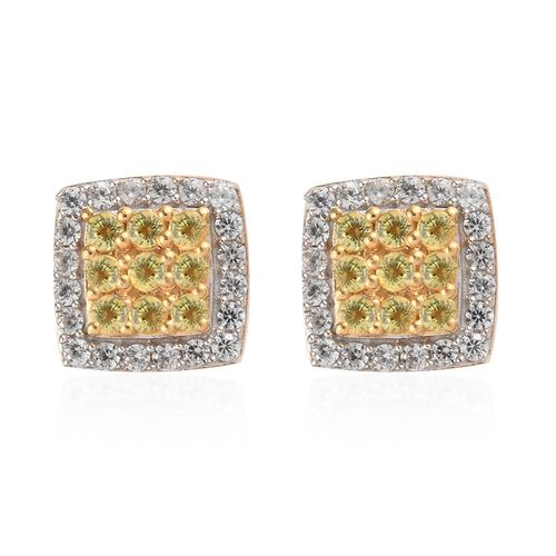 Yellow Sapphire and Natural Cambodian Zircon Earrings (with Push Back) in 14K Gold Overlay Sterling