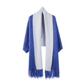 Kris Ana Wrap with Tassels (Size One, 8-18) - Cobalt and Grey