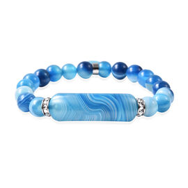 Blue Lace Agate, White Austrian Crystal Stretchable Bracelet in Stainless Steel (Size 7) 95.00 Ct.