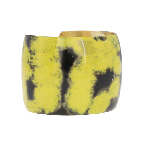 Meena Work Antique Cuff Bangle (Size 7) in Yellow
