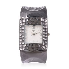 STRADA Japanese Movement Water Resistance Cuff Bangle Watch (Size 6-6.5) in Black Plated Stainless S