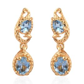 Santamaria Aquamarine Dangle Earrings (with Push Back) in 14K Gold Overlay Sterling Silver 0.85 Ct.