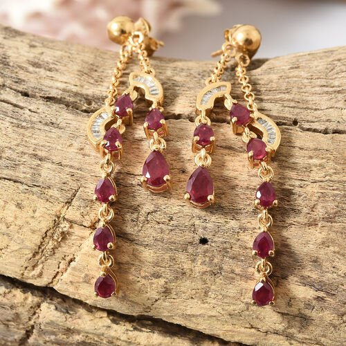Designer Inspired-African Ruby (Pear), Diamond Earrings (with Push Back) in 14K Gold Overlay Sterling Silver 4.270 Ct, Silver wt 5.00 Gms.