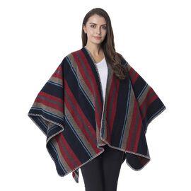 Designer Inspired-Navy Blue and Wine Colour Strip Pattern Kimono (Size 120x73 Cm)