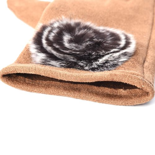 Solid Colour Women Winter Gloves with Rose Shaped Faux Fur on the Wrist (Size 8.9x22.9 Cm) - Camel