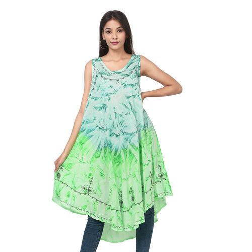Summer Special- Embroidered Tie-Dye Round Neck Umbrella Dress (One Size; L-121cm x W-111cm) - Mint G